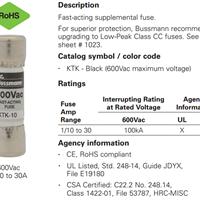 BUSSMANN快速熔断器KTK-4 10*38mm 600Vac