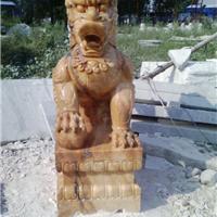 供应曲阳石雕晚霞红麒麟貔貅招财进宝动物