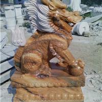 供应晚霞红麒麟 汉白玉石雕貔貅麒麟雕刻