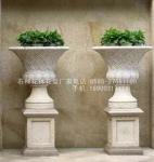 供应专业生产黄锈石花盆 石材花盆