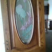 供应美国红橡雕花带窗实木门