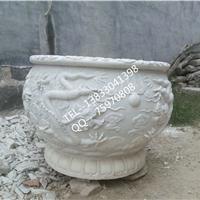石雕龙盆龙圆形养鱼缸精品雕刻花盆家庭摆件