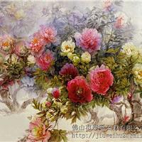 中式整体背景墙彩雕:CD-010花香