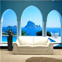 供应地中海3D大型壁画 餐厅背景立体壁纸