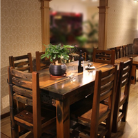 老船木田园风格餐桌餐椅组合
