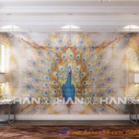 佛山汉恩供应新品陶瓷彩雕背景墙 孔雀开屏