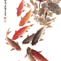 中式整体背景墙彩雕:CD-013九鱼图