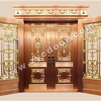 广州铜门厂家 装甲门 板雕子母对开四开铜门