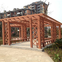 合肥庐江巢湖塑木地板 庭院景观塑木花架