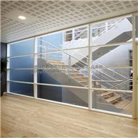 钢铝材质办公室隔断 1.8壁厚玻璃木板隔断墙