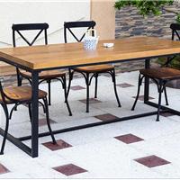 供应复古铁艺餐桌书桌 实木家具饭桌