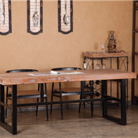 铁艺实木餐桌椅组合 美式实木饭桌咖啡桌