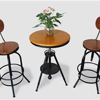 咖啡厅酒吧阳台庭院实木铁艺餐桌椅