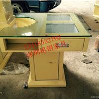 供应新款铁艺餐桌,带抽屉钢化玻璃桌面