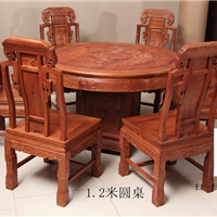 供应1.2米雕花红木圆桌红木家具餐桌清式