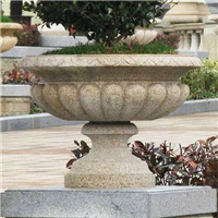 宝鸡石雕花盆厂家|石雕花钵价格|景观花钵