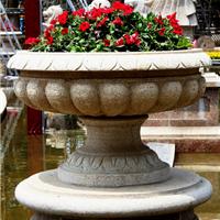 禹州石雕花盆厂家|石雕花钵价格|景观花钵