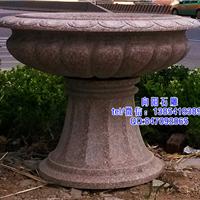 蓬莱石雕花盆|黄锈石花盆|石雕花钵价格