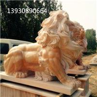 供应晚霞红石雕狮子 欧式西洋狮子雕塑