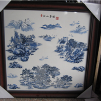 江西哪里供应景德镇青花瓷板画,定制陶瓷瓷板画价钱是多少有图片
