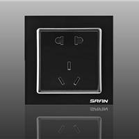 墙壁插座/玻璃面板插座/雅致黑:五孔插座超低价供应