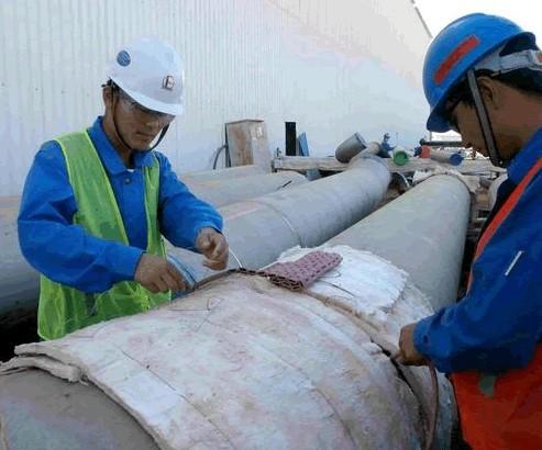 四建公司沙特延布项目大口径管道焊缝热处理验收合格
