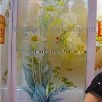 供应各种花玻,浮雕上彩,海棠花玻璃