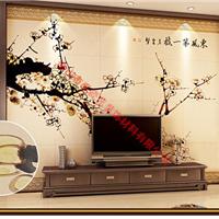 艺术壁画3D背景墙体饰材招商加盟 梅颜春色